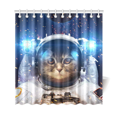 InterestPrint Cat in Outer Space Custom Shower Curtain Polyester Fabric Bathroom Sets Home Decor