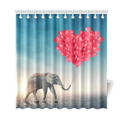 InterestPrint Elephant Red Balloons Custom Shower Curtain Polyester Fabric Bathroom Sets Home Decor