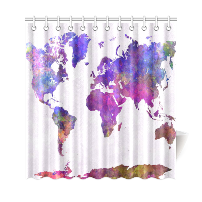 InterestPrint World Map in Watercolor Custom Shower Curtain Polyester Fabric Bathroom Sets Home Decor