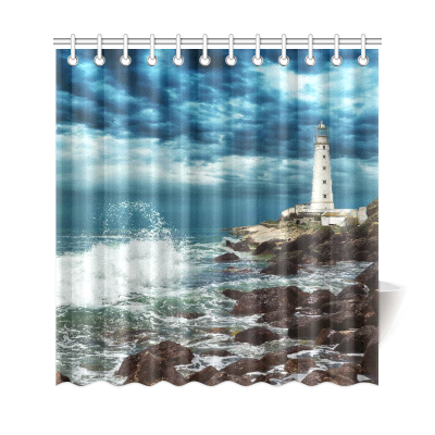 InterestPrint Stormy Beach Lighthouse Custom Shower Curtain Polyester Fabric Bathroom Sets Home Decor