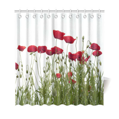 InterestPrint Red Poppies Custom Shower Curtain Polyester Fabric Bathroom Sets Home Decor