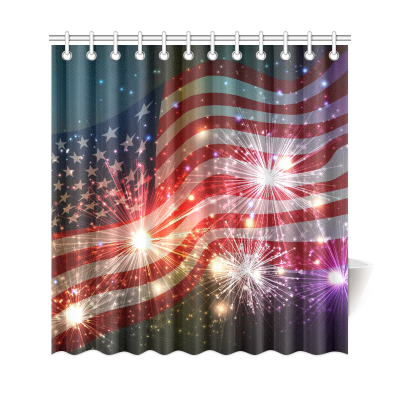 InterestPrint Fireworks Independence Custom Shower Curtain Polyester Fabric Bathroom Sets Home Decor