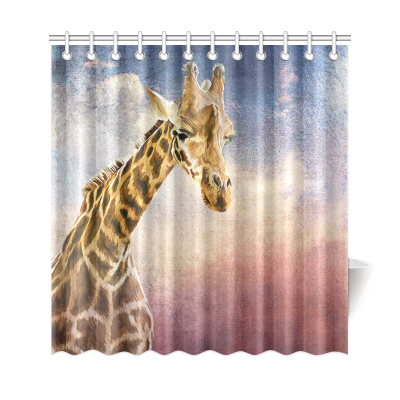 InterestPrint Vintage Giraffe Art Drawing Custom Home Decor  Polyester Fabric Shower Curtain Bathroom Sets