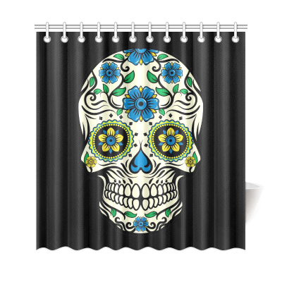 InterestPrint Sugar Sugar Skull Custom Home Decor Polyester Fabric Shower Curtain Bathroom Sets