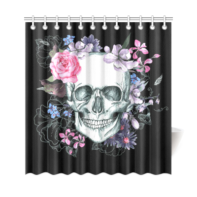 InterestPrint Sugar Skull Flowers Day of The Dead Custom Home Decor Polyester Fabric Shower Curtain Bathroom Sets