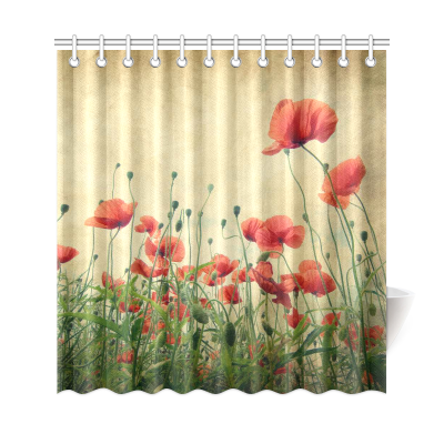 InterestPrint Vintage Retro Poppy Flower Field Custom Home Decor Polyester Fabric Shower Curtain Bathroom Sets