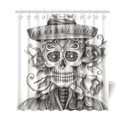 InterestPrint Art Sugar Skull Human Skeleton Custom Home Decor Polyester Fabric Shower Curtain Bathroom Sets