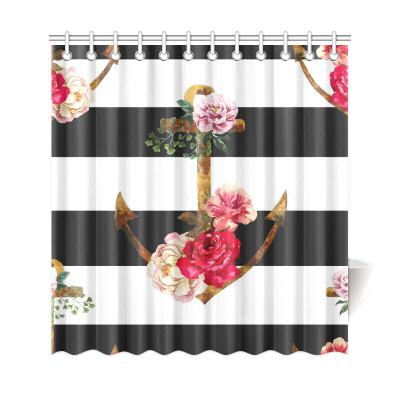 InterestPrint Nautical Navy Ocean Ship Stripes  Anchor Flower  Home Decor Polyester Fabric Shower Curtain Bathroom Sets
