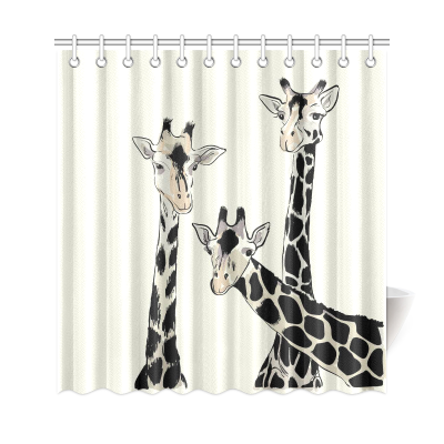 InterestPrint African Animals Funny Giraffe Art Painting  Home Decor Polyester Fabric Shower Curtain Bathroom Sets