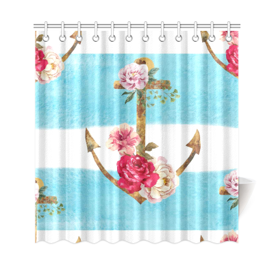 InterestPrint Watercolor Blue Stripes Anchor & Flowers Polyester Fabric Shower Curtain Bathroom Sets Home Decor