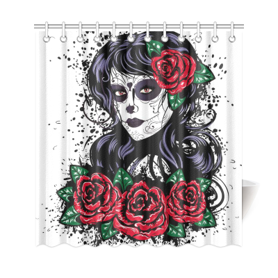 InterestPrint  Dia De Dos Muertos Decor,Vintage Sugar Skull Roses Polyester Fabric Shower Curtain Bathroom Sets