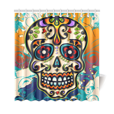 InterestPrint Mexico Dia De Los Muertos Sugar Skull Day of Dead Polyester Fabric Shower Curtain Bathroom Sets Home Decor