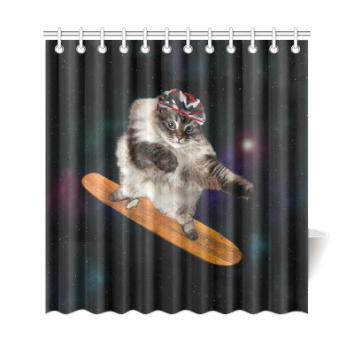 InterestPrint Animal Home Decor,Funny Cat Skating Galaxy Outer Space Polyester Fabric Shower Curtain Bathroom Sets