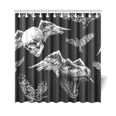 InterestPrint Trex Dinosaur Halloween Skull Polyester Fabric Shower Curtain Bathroom Sets Home Decor