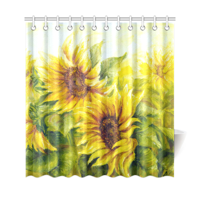 InterestPrint Sunny Sunflowers Oil Painting Polyester Fabric Shower Curtain Bathroom Sets Home Decor