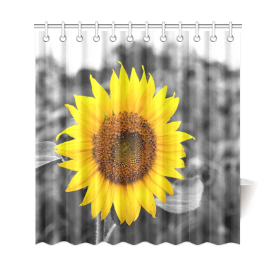 InterestPrint Sunflower Artwork Polyester Fabric Shower Curtain Bathroom Sets Home Decor