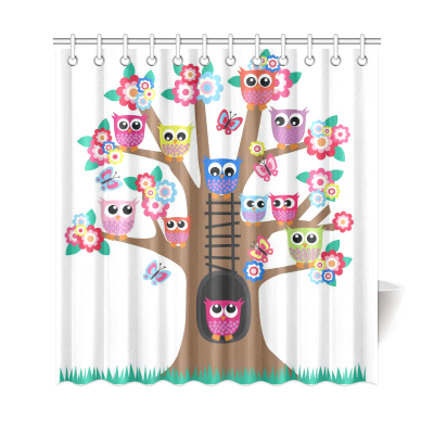 InterestPrint Night Owls on Tree Polyester Fabric Shower Curtain Bathroom Sets Home Decor