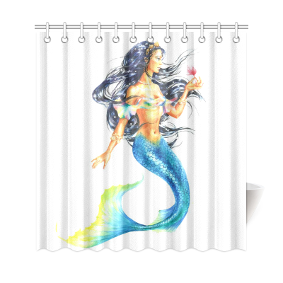 InterestPrint Watercolor Mermaid Polyester Fabric Shower Curtain Bathroom Sets Home Decor