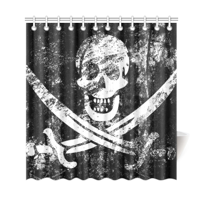 InterestPrint Pirate Flag Home Decor, Vintage Skull Polyester Fabric Shower Curtain Bathroom Sets