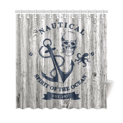 InterestPrint Skull Nautical Anchor Octopus Wooden Polyester Fabric Shower Curtain Bathroom Sets Home Decor