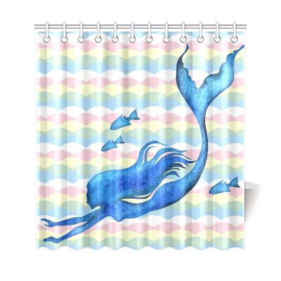 InterestPrint Scalloped Wave Pattern Home Decor, Merimaid Fish WatercolorPolyester Fabric Shower Curtain Bathroom Sets