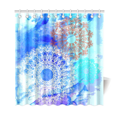 InterestPrint Ethinic  Mandala Circle Ornament Polyester Fabric Shower Curtain Bathroom Sets Mandala Home Decor