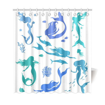 InterestPrint Colorful Mermaid Silhouette Polyester Fabric Shower Curtain Bathroom Sets Home Decor