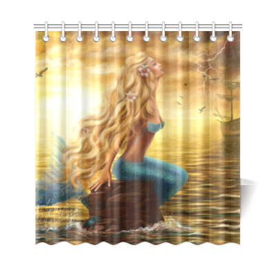 InterestPrint Princess Sea Mermaid Ghost Ship Polyester Fabric Shower Curtain Bathroom Sets Home Decor