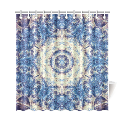 InterestPrint Blue Fractal Ethinic Mandala Polyester Fabric Shower Curtain Bathroom Sets Mandala Home Decor