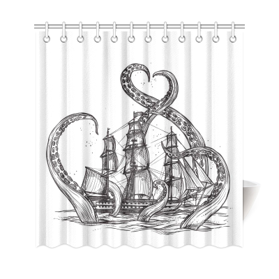 InterestPrint Sea Monster Home Decor, Octopus Pirate Ship Polyester Fabric Shower Curtain Bathroom Sets
