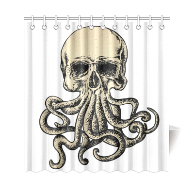 InterestPrint Vintage Pirate Home Decor, Octopus Skull Skeleton Polyester Fabric Shower Curtain Bathroom Sets
