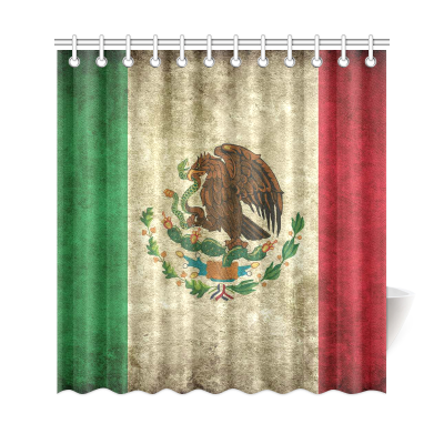 InterestPrint Mexican Flag Grunge Vintage Style Polyester Fabric Shower Curtain Bathroom Sets Home Decor