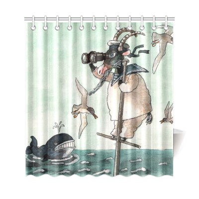 InterestPrint Funny Animals Home Decor, Sailor Goats Whale in Ocean Polyester Fabric Shower Curtain Bathroom Sets