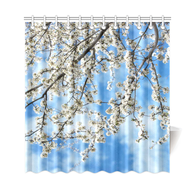 InterestPrint Spring Flower Daylight Home Decor, Cherry Blossoms Tree Polyester Fabric Shower Curtain Bathroom Sets