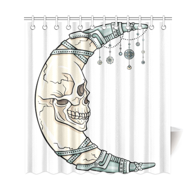 InterestPrint Fantastic Moon Skull Polyester Fabric Shower Curtain Bathroom Sets Home Decor
