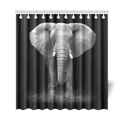 InterestPrint African Animal Elephant Home Decor Polyester Fabric Shower Curtain Bathroom Sets