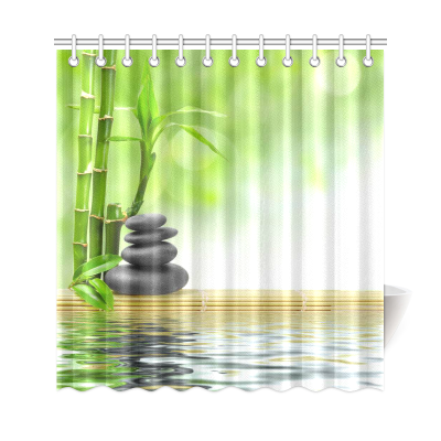 InterestPrint Japanese Bamboo Stone Water Polyester Fabric Shower Curtain Bathroom Sets Home Decor