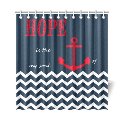 InterestPrint Nautical Sea Anchor Home Decor, Cheveron Stripes Dark Blue White Anchor Hope Polyester Fabric Shower Curtain Bathroom Sets