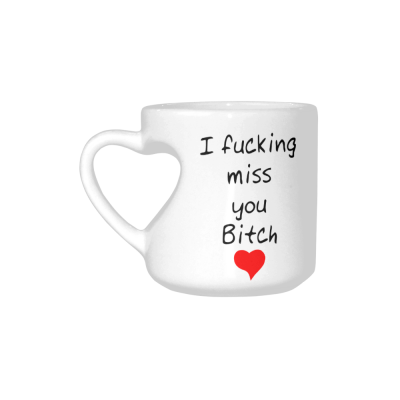 InterestPrint Best Friends I Fucking Miss You Bitch Quotes White Ceramic Heart-shaped Travel Water Coffee Mug Tea Cup - Funny Unique Birthday Gift for Men Women Mom Dad Husband Wife Him Her Girl Lover