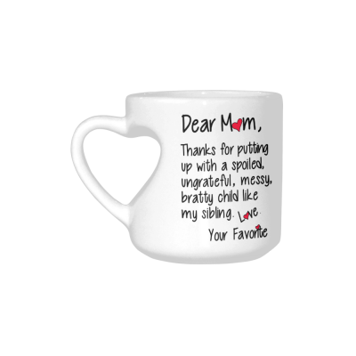 InterestPrint Thanks for Dear Mom Child Love Favorite Inspirational Quotes Ceramic Heart-shaped Travel Water Coffee Mug Tea Cup, Funny Unique Birthday Gift for Men Women Mom Dad Boy Girl Her Lover
