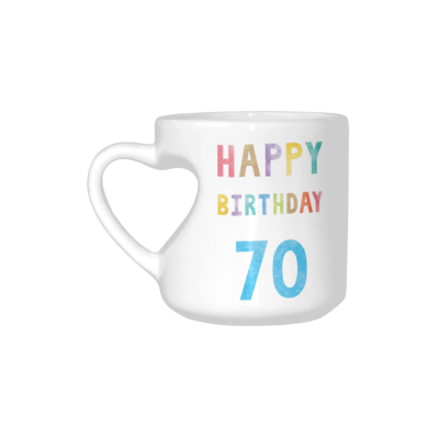InterestPrint 70th Birthday Anniversary Party Decoration White Ceramic Heart-shaped Travel Water Coffee Mug Tea Cup Set - Funny Unique Birthday Gift for Husband Wife Boy Girl Friends Him Her Lover