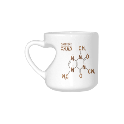 InterestPrint Media Artwork Chemistry of Caffeine Molecule White Ceramic Heart-shaped Travel Water Coffee Mug Tea Cup, Unique Birthday Gift for Men Women Husband Boy Girl Friends Him Her Lover