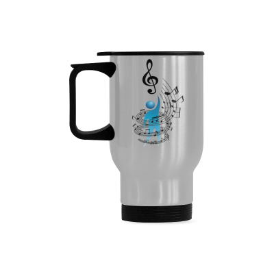 InterestPrint Custom Musician Musical Music Note Icon with Vector People Travel Mug 14oz Silver Stainless Steel Funny Camping Coffee Mug Cup, Best Friends Friendship Mom Unique Thanksgiving Gifts