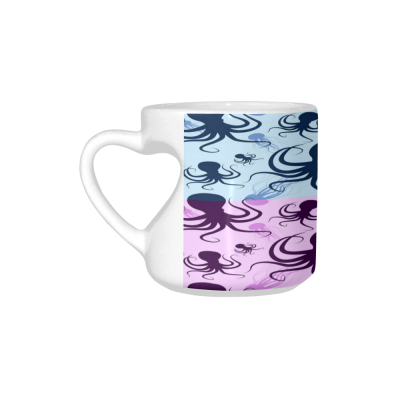 InterestPrint White Ceramic Multicolored Ocean Animal Octopus and Jellyfish Heart-shaped Coffee Travel Mug Cup with Sayings, Best Friends Friendship Mom Funny Unique Birthday Thanksgiving Gifts