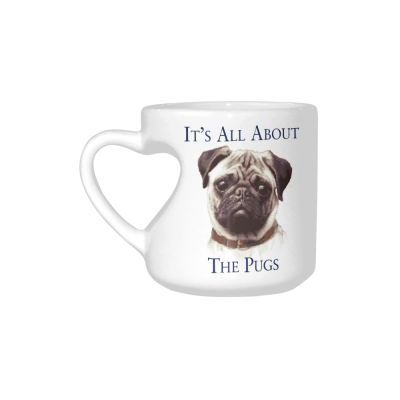 InterestPrint White Ceramic Cute Pug Dog Dog Lover Portrait It's All About The Pugs Heart-shaped Travel Coffee Mug Cup, Best Friends Friendship Mom Funny Birthday Thanksgiving Gifts