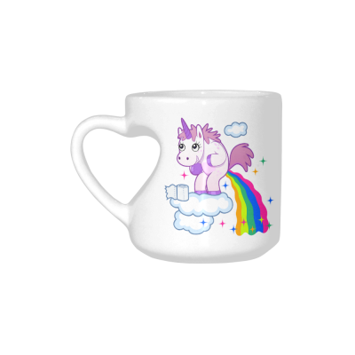 InterestPrint White Ceramic Funny Unicorn Rainbow Horse Animal Heart-shaped Travel Coffee Mug Cup with Sayings, Best Friends Friendship Mom Funny Unique Birthday Thanksgiving Gifts