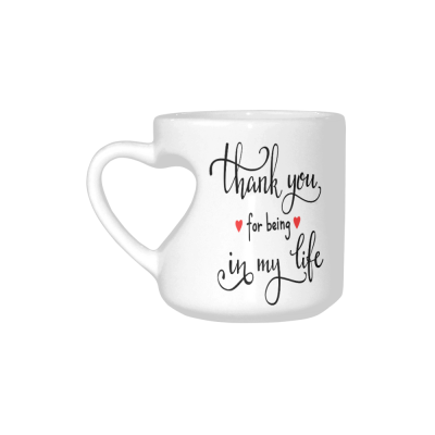 InterestPrint White Ceramic White Romantic Thank You for Being in My Life Heart-shaped Coffee Travel Mug Cup with Sayings, Best Friends Friendship Mom Funny Unique Birthday Gifts