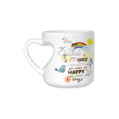 InterestPrint Ceramic You Are My Sunshine You Make Me Happy When Skies Are Gray Heart-shaped Coffee Travel Mug Cup with Sayings, Best Friends Friendship Mom Funny Unique Birthday Thanksgiving Gifts