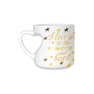 InterestPrint White Ceramic White I Love You to the Moon and Back Heart-shaped Coffee Travel Mug Cup with Sayings, Best Friends Friendship Mom Funny Unique Birthday Gifts