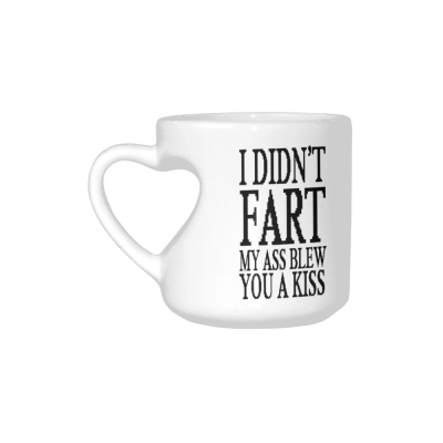 InterestPrint White Ceramic I Didn't Fart My Ass Blew You a Kiss Heart-shaped Travel Coffee Mug Cup with Sayings, Best Friends Friendship Mom Funny Unique Birthday Thanksgiving Gifts